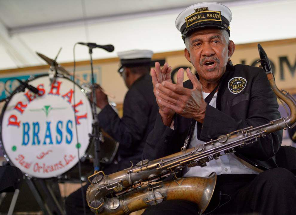 83 years young, bandleader 'Weenie' Farrow of Pres Hall Brass Band is a sax VIP _lowres