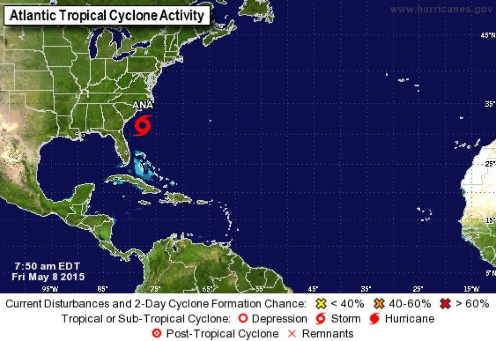 Nearly a month before hurricane season, first named storm of 2015, Ana, drifting off the Carolinas _lowres