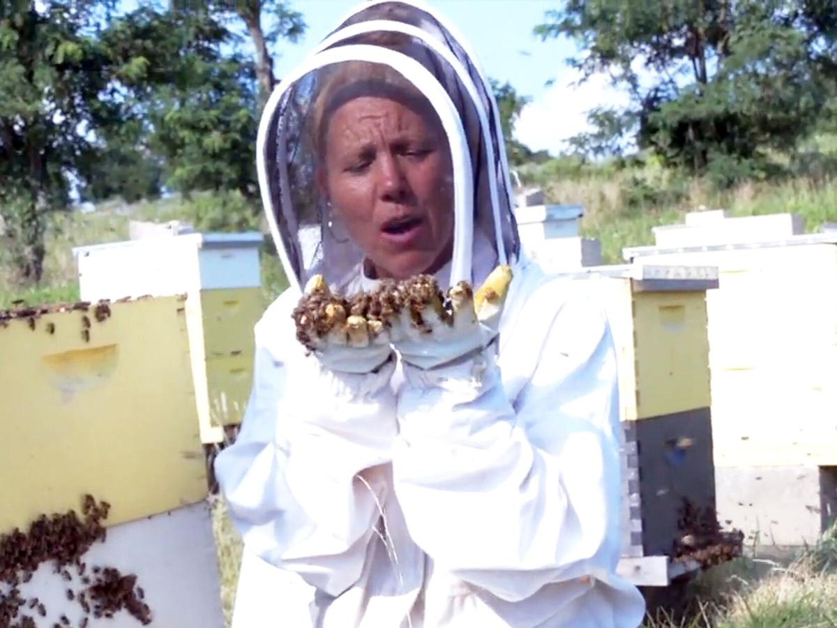 Amy Taylor with bees