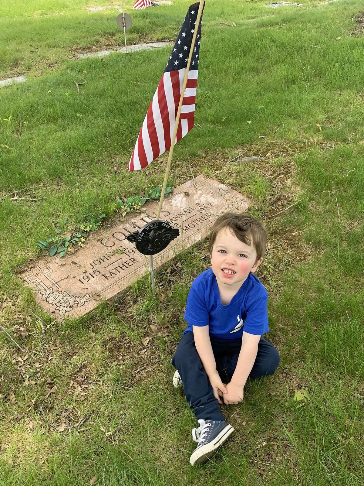 Liam at gravesite