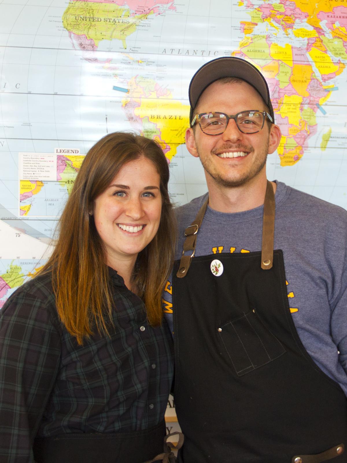 Julie and Matt with map
