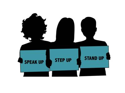 Speak up, Step up, Stand up Graphic