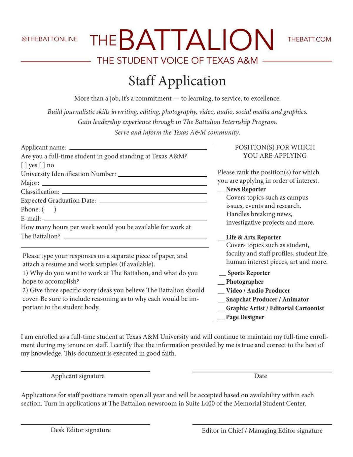 2018-2019 Staff Application