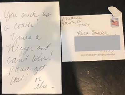 Racist hate letter received by Sumlins