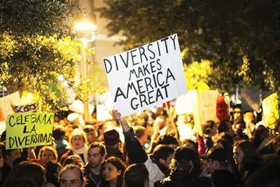 Protestors outside Richard Spencer event