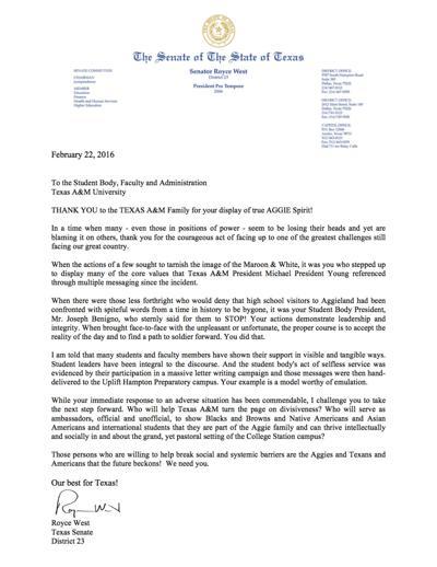 Texas Sen. Royce West's letter to The Battalion