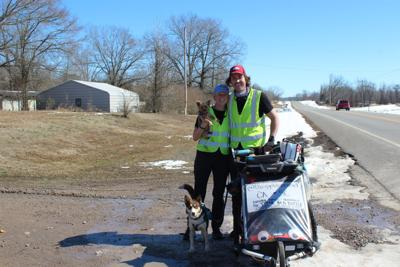 Couple walking across America stop to rest in Conway