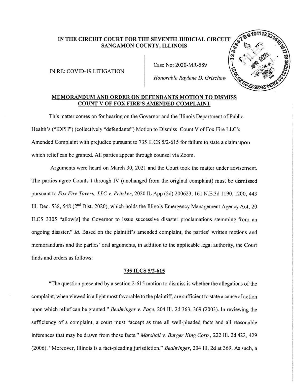 Order on Pritzker's motion to dismiss - April 7, 2021