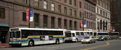 FILE - CT commuter buses, CT Transit, transportation 9-16-2005