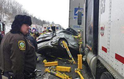 FILE - Interstate 81 crash accident Virginia