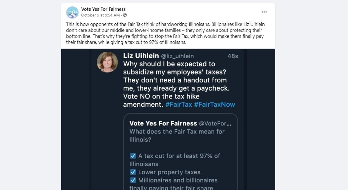 Vote Yes For Fairness shares fake twitter post