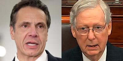 FILE - NY Andrew Cuomo, Mitch McConnell