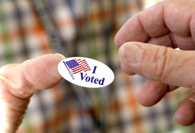 FILE - I Voted Sticker