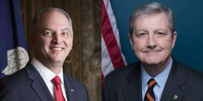 FILE - U.S. Sen. John Kennedy, LA Gov. John Bel Edwards