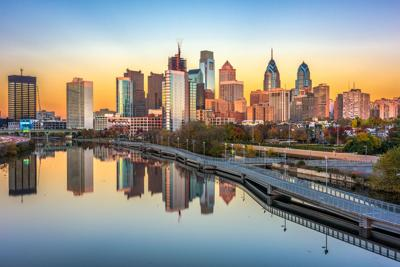 FILE - Philadelphia skyline