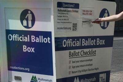 FILE - Oregon Ballot Drop Box