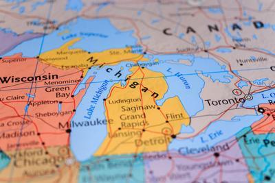 Map of Michigan, Wisconsin