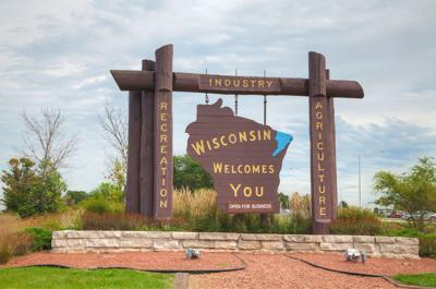FILE - Wisconsin welcome sign to