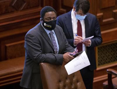 FILE - State Sen. Emil Jones III, Virus Outbreak Illinois Senate
