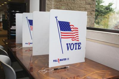 FILE - Voting, poll, voting booth, election