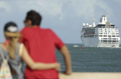 FILE - Florida tourism cruise ship