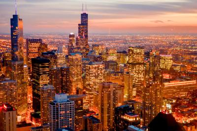 FILE - Chicago skyline