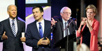 FILE - Joe Biden, Pete Buttigieg, Bernie Sanders, Elizabeth Warren