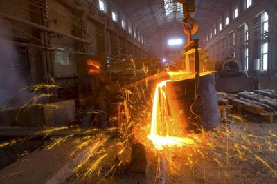 FILE - Steel mill, manufacturing, factory