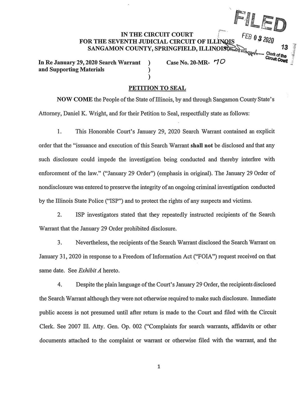 Sangamon County Petition to Seal, Madigan/Franks Warrant