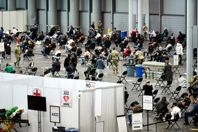 FILE - NY Vaccine, vaccinations, Javits Center 4-23-2021
