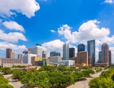 FILE - Houston skyline