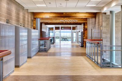 FILE - School, hallway, lockers