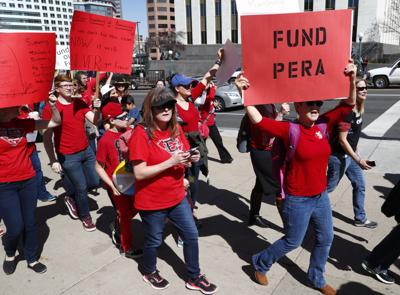 FILE - Colorado Teacher Protests Pension Problems