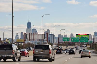 FILE - Chicago, Ill. from the I-90, highway