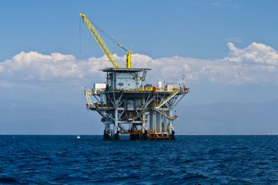 FILE - Oil rig, offshore drilling