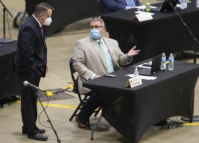 FILE - Darren Bailey, face mask, Virus Outbreak Illinois Legislature