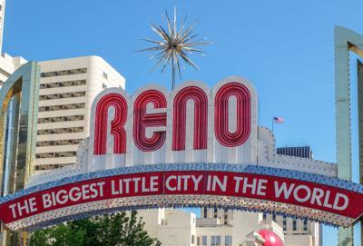 FILE - Reno Arch sign in Reno, Nevada
