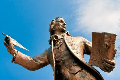 FILE - Thomas Paine statue in Norfolk, England