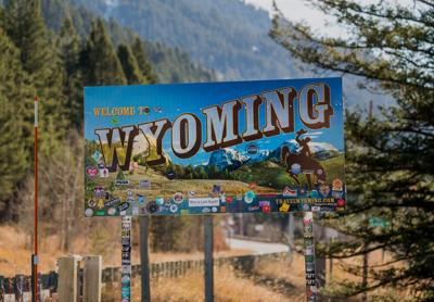 FILE - Welcome To Wyoming Sign