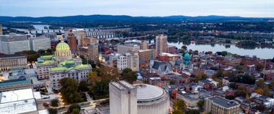 FILE - PA Harrisburg aerial view