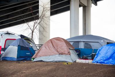 FILE - Tent city homeless