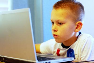Boy, student, computer, internet, homework, study