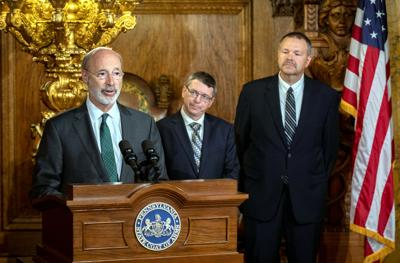 FILE - PA Tom Wolf, Patrick McDonnell, Randy Padfield 10-3-2019