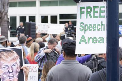 FILE - Free speech zone