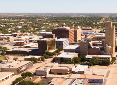 A,Birdseye,View,Of,Lubbock,Texas,Downtown,City,Skylines,,Buildings