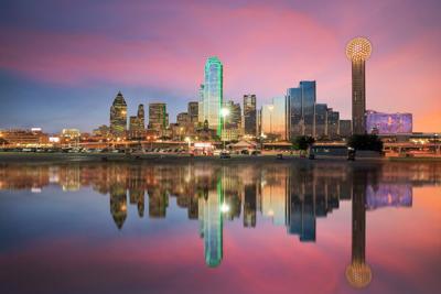 FILE - Dallas skyline