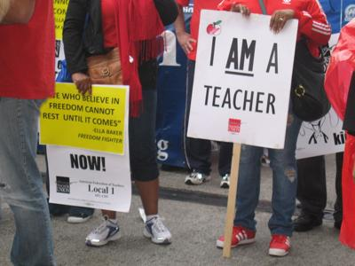FILE - Teachers, union, strike