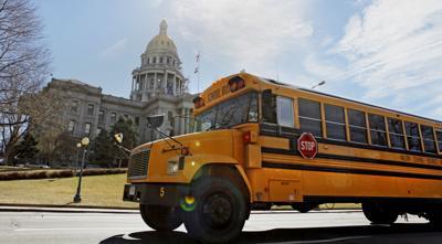 FILE - Colorado Capitol School Buses