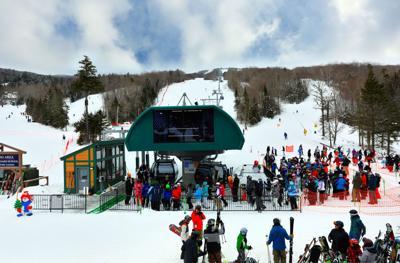 FILE - NH skiers, Bretton Woods Ski Resort 2-15-2020