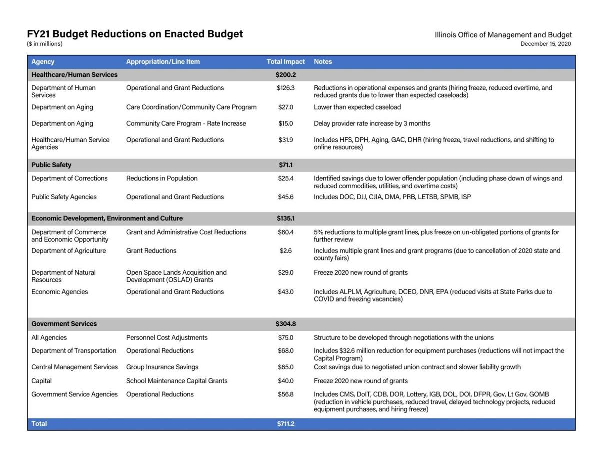 FY21 Budget Reductions on Enacted Budget - Illinois
